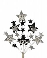 Star age 60th birthday cake topper decoration in silver and black - free postage